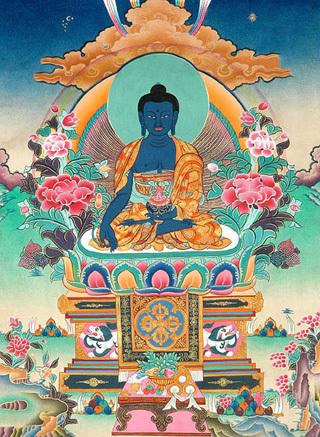 Phật Dược Sư ngồi trên ngai có hình hai con Sư tử Tuyết - tranh Tây Tạng.