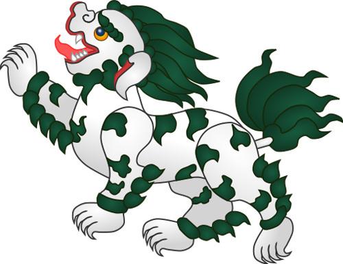 Sư tử Tuyết thường được minh họa với bờm xanh lá cây hoặc xanh nước biển.