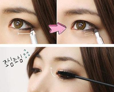 Kẻ viền mí mắt trên và 2/3 mí mắt dưới bằng chì màu đen. Cuối cùng, chuốt mascara để hoàn thiện bước trang điểm mắt.