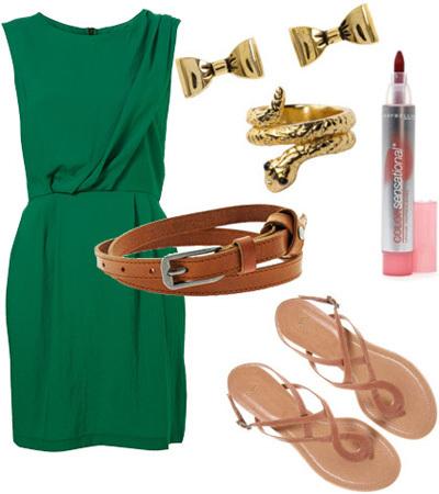 Váy màu xanh lá mix với trang sức vàng, dây lưng và sandal nâu