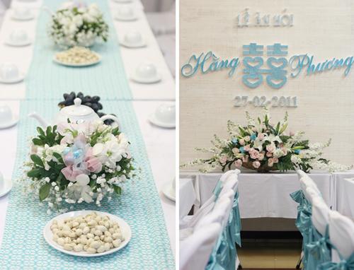 Toàn bộ khăn trải bàn, áo ghế và phông lễ ăn hỏi đều có màu xanh ton sur ton.