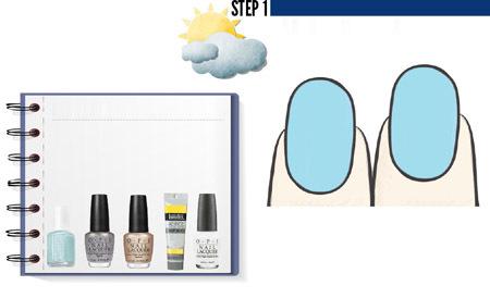 Bước 1: Sơn toàn bộ bề mặt móng bằng màu xanh pastel