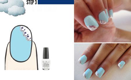Bước 3: Làm nổi bật họa tiết đám mây bằng sơn màu trắng