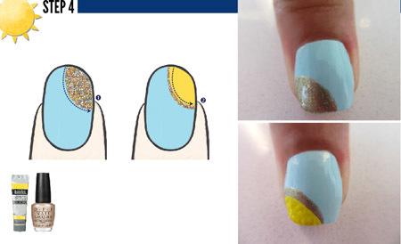 Sau khi hoàn thành lớp sơn nền với màu xanh pastel, bạn vẽ một đường vòng cung màu nhũ vàng lên góc trên bên phải móng tay. Đợi lớp nhũ khô, tiếp tục phủ sơn màu vàng vào bên trong hình vòng cung.