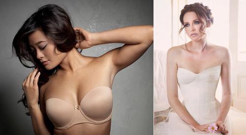 Khi mặc váy cưới quây, cô dâu có thể kết hợp với áo ngực tháo rời dây.