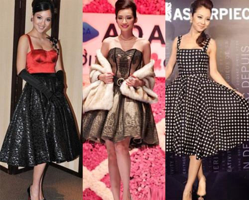 Từ trái sang phải: Người đẹp Huỳnh Bích Phương, Hoa hậu Trúc Diễm và Jennifer Phạm trong những bộ váy tối màu.