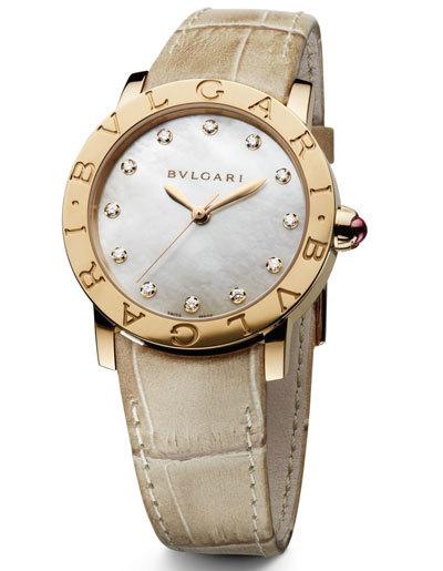 Đồng hồ BB Lady mặt xà cừ, viên đồng hồ bằng vàng, đính kim cương và dây làm từ da cá sấu