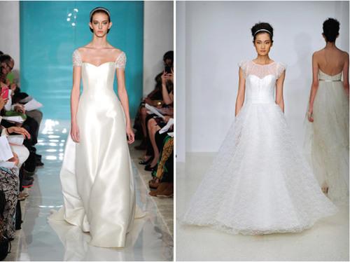 2. Váy tay hến: Kể từ khi cả thế giới phát cuồng với phong cách vintage, bất cứ bộ sưu tập nào của các nhà thiết kế nổi tiếng cũng xuất hiện những chiếc váy cổ điển, quý phái. Váy tay hến chỉ là một trong nhiều mẫu váy cổ điển đang trở lại với thời trang đám cưới.