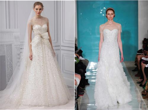 4. Váy đính đá và cườm: Những kiểu váy cưới được trang trí cầu kỳ bằng hàng trăm viên đá nhỏ li ti, tạo nét sang trọng, quyến rũ. Váy cưới này đòi hỏi thực hiện tỉ mỉ, thủ công, do đó, tiền công may cũng rất đắt. Váy đính đá cầu kỳ thích hợp với đám cưới vào mùa đông.