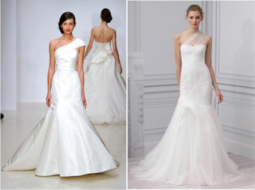 6. Váy cưới lệch vai: Một trong những xu hướng váy cưới hot nhất năm 2012 là váy cưới lệch vai. Không chỉ được các cô dâu yêu thích, váy lệch vai còn lên thảm đỏ cùng nhiều minh tinh nổi tiếng thế giới nhờ sự đơn giản, sang trọng và tinh tế.