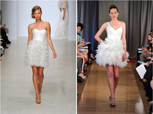 7. Váy cưới ngắn: Nếu trước đây, váy cưới ngắn chỉ được xem là lựa chọn thay thế cho chiếc váy dài sau khi tiệc cưới kết thúc thì nay, nhiều cô dâu chọn mắc váy ngắn trong đám cưới. Sự thuận tiện khi di chuyển, kiểu dáng trẻ trung và dễ thương của váy cưới ngắn phù hợp với những đám cưới mùa hè.