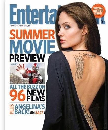 Angelina Jolie khoe hình xăm