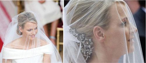 Mái tóc của cô dâu được vấn sang trọng