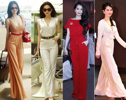 Bên cạnh Hồ Ngọc Hà, Hoa hậu hoàn cầu Ngọc Trinh cũng là người rất đam mê jumpsuit. Cô diện jumpsuit khi xuất hiện ở sân bay, trên đường phố, tại các bữa tiệc hay trên sàn diễn thời trang.