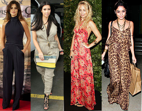Penelope Cruz and Kim Kardashian sporting the jumpsuit trend, and Nicole Richie and Vanessa Hudgens