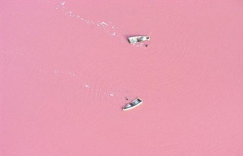 Nước hồ có màu hồng sữa dâu tuyệt đẹp.