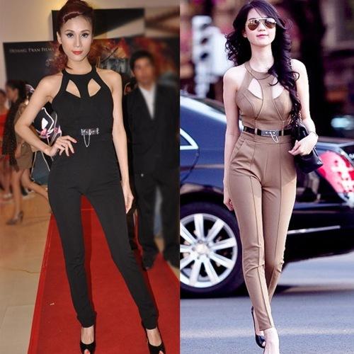 Người đẹp Thái Hà và Ngọc Trinh đều chọn mẫu thiết kế giống nhau, chỉ khác về màu sắc.