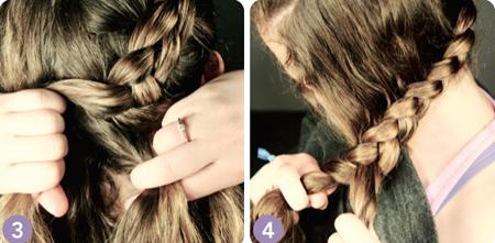 Khi tết tóc xuống phía dưới, bạn lấy thêm các lọn tóc xung quanh để