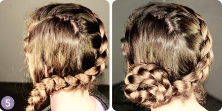 Cuối cùng, cuộn tròn bím tóc tết để tạo thành một búi tóc lệch ngay cạnh tai.