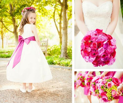 Cô bé phù dâu nhí duyên dáng với váy thiên thần màu trắng và nơ hồng đậm to bản.