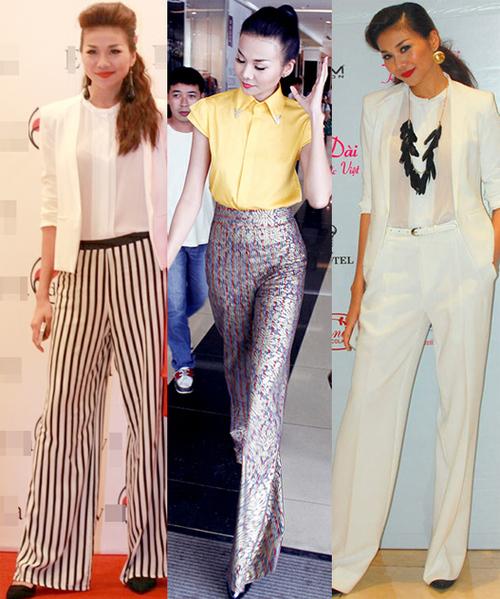 Quần ống suông cũng là một trong những trang phục được siêu mẫu Thanh Hằng ưa thích. Cô thường kết hợp chúng với áo sơ mi hay áo vest.