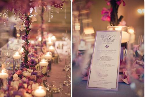 Ngoài hoa tươi và pha lê lấp lánh, bàn tiệc còn được tô điểm thêm bởi ánh nến lung linh.