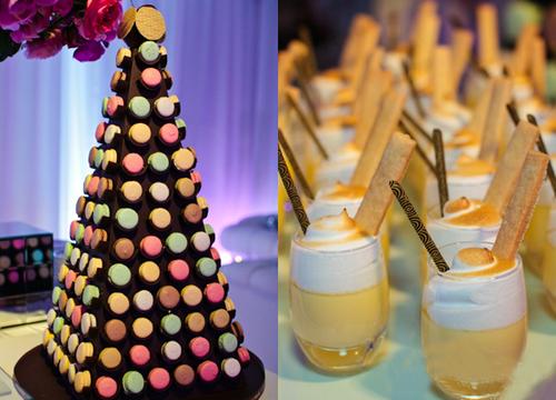 Tháp bánh cưới được làm từ những chiếc bánh macaron nhiều màu.
