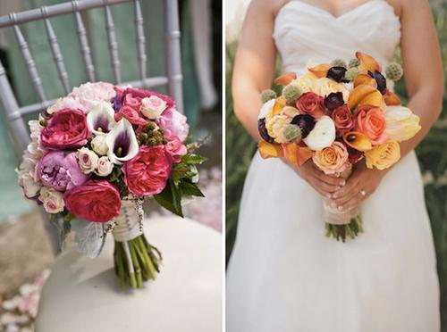 Bó hoa rum được kết cùng hoa mẫu đơn, hoa hồng tạo vẻ đẹp rực rỡ.