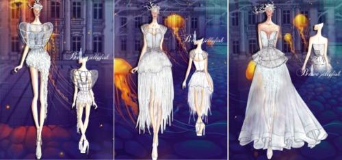 Nguyễn Thị Tường My với bộ sưu tập Belve Jellyfish. Thân hình mềm mại uyển chuyển và trong suốt của đàn sứa trắng đang tung tăng nhảy múa chính là nguồn cảm hứng trong bộ sưu tập. Đây cũng là một trong 3 bộ sưu tập được lựa chọn để trình diễn trong đêm công bố kết quả của vòng một.