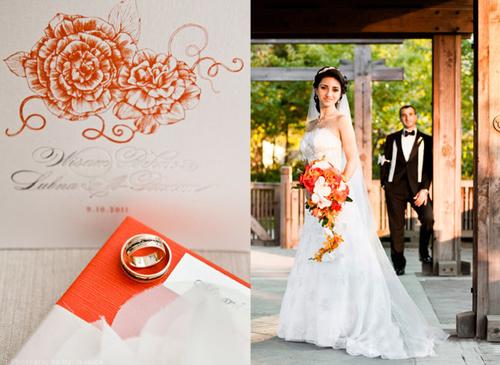 Từ thiếp mời, Lubna và Wisam đã chọn sắc cam để trang trí.