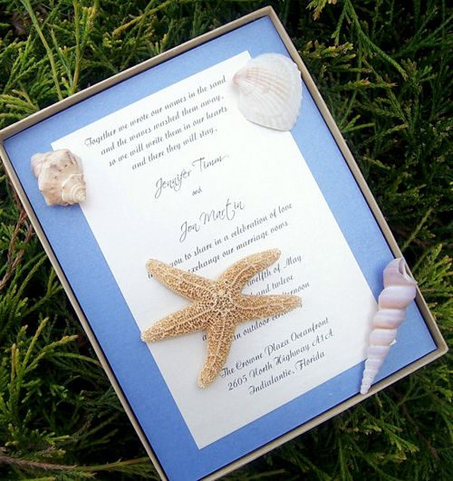 Thiệp cưới mang âm hưởng của biển