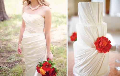 Từ kiểu dáng, đến mùa hoa trang trí đều ton sur ton với váy cô dâu.