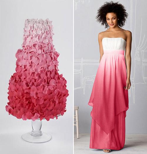 Bánh cưới tông màu đổ tuyệt đẹp như chiếc váy cùng tông màu của cô dâu.