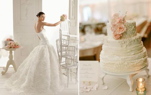 Bánh cưới với những đường vân mềm mại và được trang trí bằng chính bông hoa cùng loại với hoa cầm tay của cô dâu.