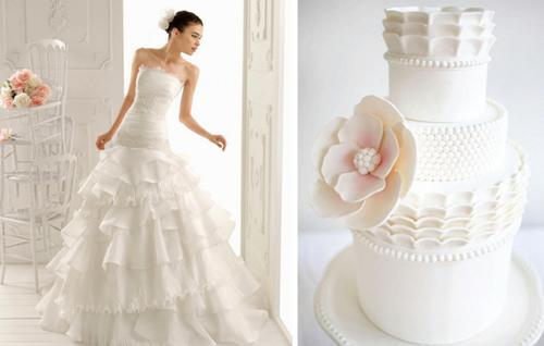 Bèo nhún ở chân váy là chi tiết trang trí tinh tế ở chiếc bánh cưới.