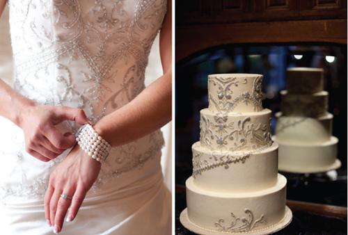 Bánh cưới được trang trí với các hạt hạt đính cườm như váy cưới.