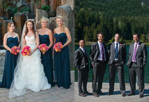Phù dâu chọn váy cưới màu xanh thẫm, tương phản với màu hoa để làm nổi bật sắc cam, sắc hồng.