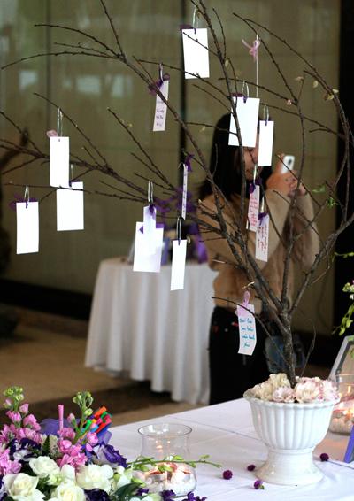 Chậu cây treo những lời chúc của khách mời dành cho cô dâu chú rể là phụ kiện và điểm nhấn đáng yêu trong đám cưới. Ảnh: Redvelvet.