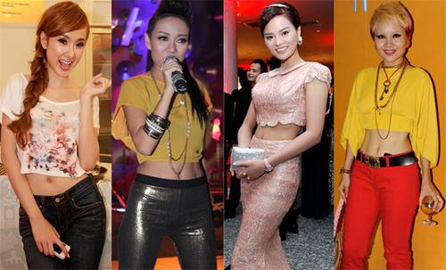 Từ trái sang phải: 'Bà mẹ nhí' Angela Phương Trinh, ca sĩ Thảo Trang, người mẫu Vũ Thu Phương và ca sĩ Mai Khôi