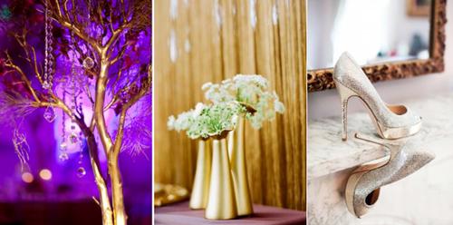 Màu tím cũng là gam màu phổ biến trong những bữa tiệc cưới ngày cuối năm.
