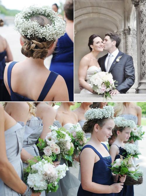 Những cô phù dâu nhí duyên dáng với vòng hoa đội đầu kết từ hoa baby.