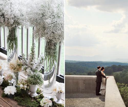 Tiệc cưới của đôi uyên ương được phủ những bông hoa trắng và hoa màu pastel.