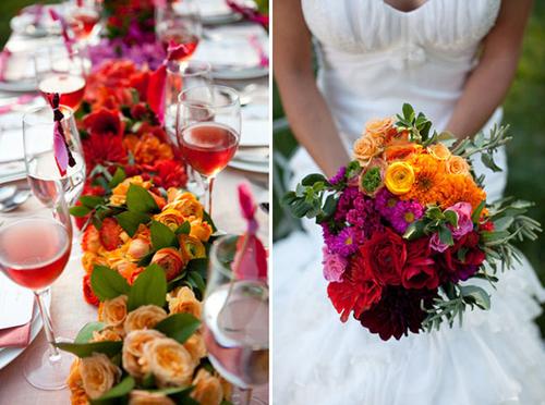 Hoa cưới nhiều màu sắc rực rỡ cho ngày cưới.
