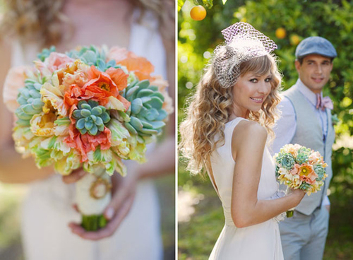 Bó hoa kết từ hoa đá và những sắc màu hoa dịu dàng.