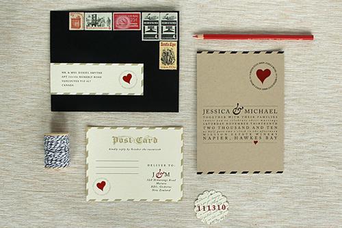 Tấm thiệp cưới dạng bưu thiếp cũng là một ý tưởng đẹp cho phong cách vintage.