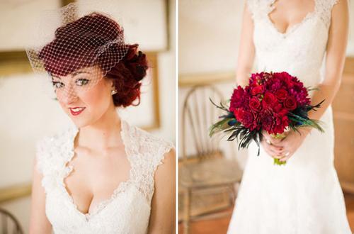 Cùng với không gian tiệc, váy cưới chính là một trong hai chi tiết thể hiện rõ nhất phong cách vintage. Những chiếc váy bằng ren kiêu sa, kết hợp cùng kiểu làm tóc và phụ kiện tóc sẽ khiến cô dâu trở thành nhân vật chính nổi bật trong tiệc.