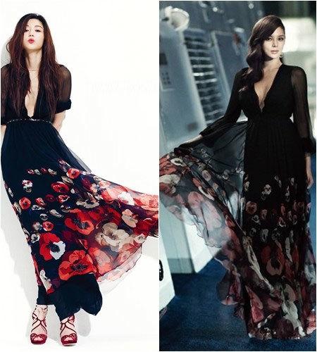 """""""Cô nàng ngổ ngáo"""" Jeon Ji Hyun và """"Hoa hậu dao kéo"""" Park Shi Yeon dịu dàng, nữ tính hơn với thiết kế này."""