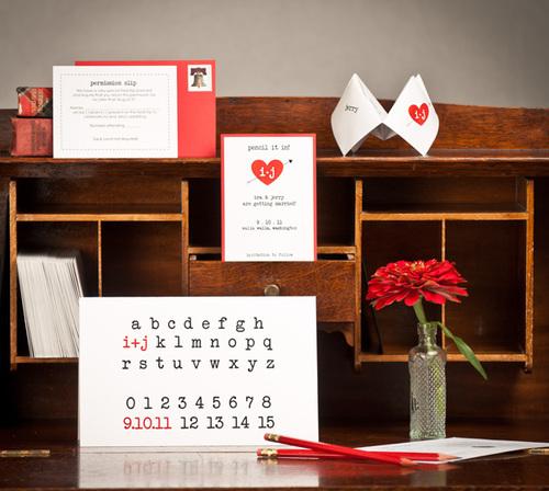 Cô dâu Ira tự tay thiếp kế thiếp mời, chương trình tiệc và cả thiệp cảm ơn. mẫu chữ được sử dụng như trong những quyển sách giáo khoa của trẻ nhỏ.