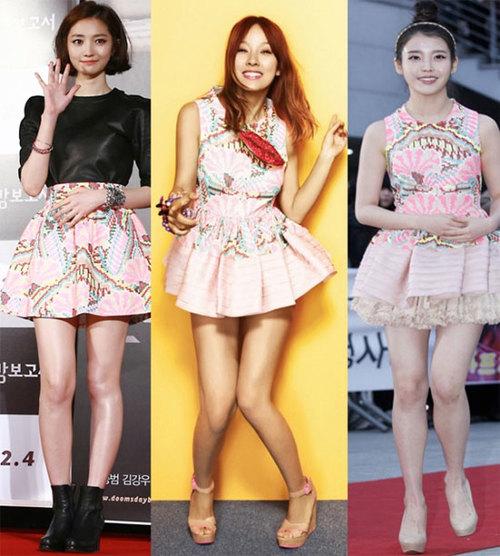 Mỗi người một vẻ với chân váy hoa.