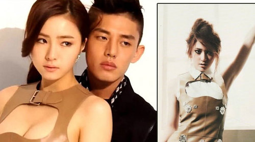 """Shin Se Kyung tự tin khoe ngực với chiếc váy da, còn Krystal phải """"dự phòng"""" thêm một chiếc sơ mi bên trong."""